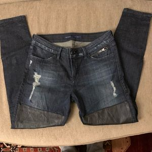 Guess Skinny Leather Patch Jeans